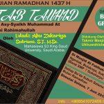 "Info Kajian Ramadhan, ""Syarah Kitab Tauhid"" Ustadz Abu Zakariya Sutrisno, ST, MSc (Masjid Al Fatihah, Ngentak, Bulakrejo, Sukoharjo)"