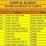 Jadwal Kajian Masjid Jajar dan Masjid At Taqwa